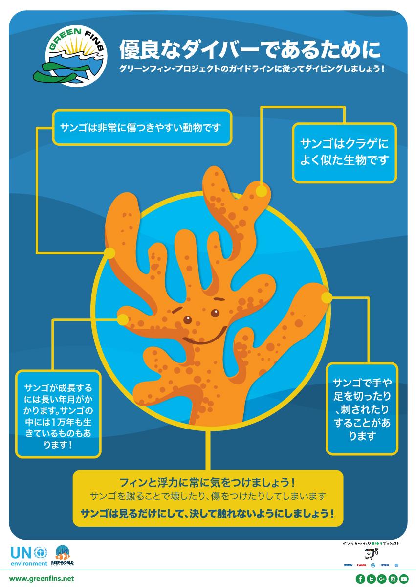 サンゴはれっきとした生き物。と同時に非常に傷つきやすく、もろい。中性浮力をとることの大切さ、フィンワークの大切さを訴えるポスター