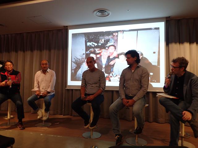 トークショーの様子。右から通訳者、レフトリス・ハリートス監督、ジャン=マルク・バールさん、高砂淳二さん、成田均さん