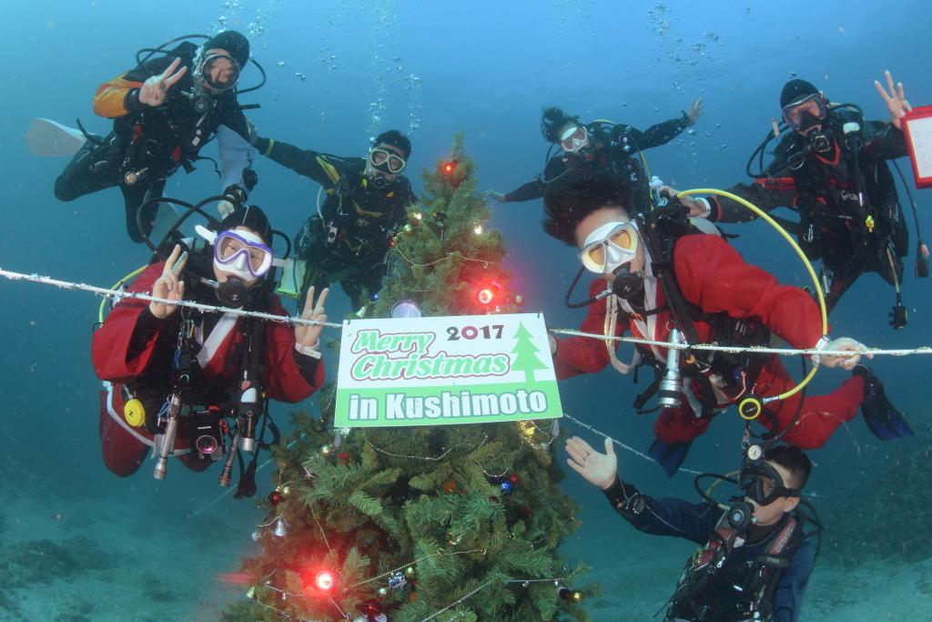 串本の海に海中クリスマスツリー登場!!