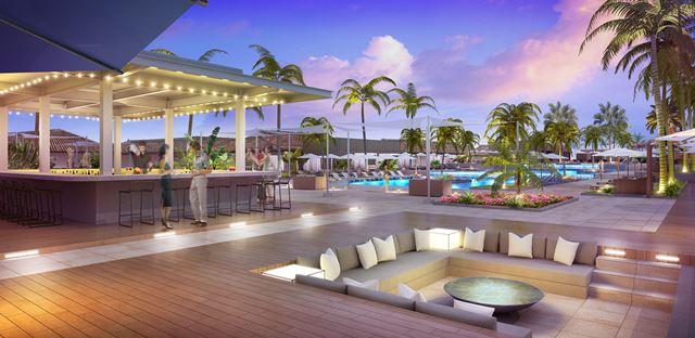 2018年6月オープン、プールサイドに設置されるリゾートビーチバー。