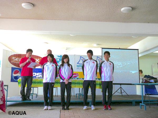 11年前の大会表彰式の様子。  川内優輝選手(最右)と水口侑子選手(右から4人目)