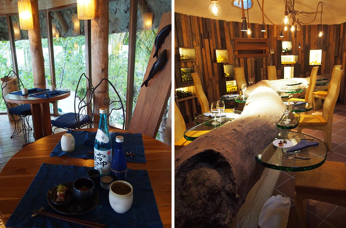 左/夕食のみを提供する「バイ・ザ・シー」で日本酒とおつまみを堪能 右/地下にあるかわいいワインセラーではチーズとワインをお味見!