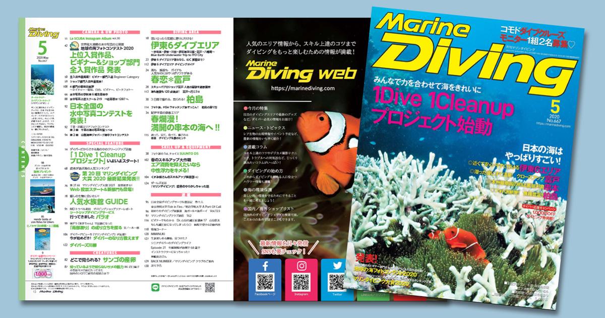 『マリンダイビング』2020年5月号も電子版で無料公開中!