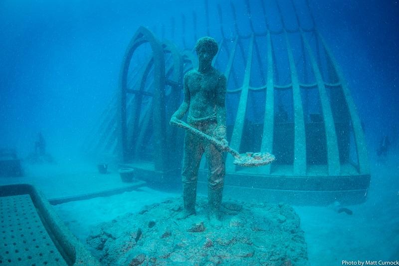 コーラル・グリーンハウス(Coral Greenhouse) ビニールハウスを模したステンレス製の建造物や植物型のモニュメント、グレートバリアリーフを守る様々な人の像が設置され、サンゴ礁の保護と修復の重要性を表現。 スノーケリングもしくはダイビングで訪れることができます。