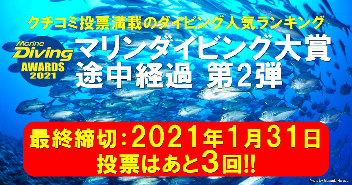 マリンダイビング大賞2021 第2弾 後半戦の途中経過 公開中!!