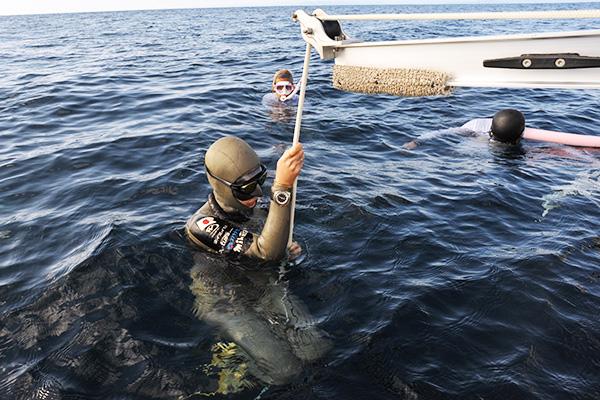 水面で潜るタイミングを待つHANAKO(廣瀬花子さん) SISTERS